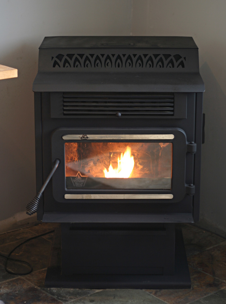 Pellet stove in kitchen